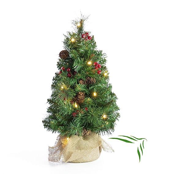 a1a9394ee5f Artplants Mini árbol de Navidad Artificial BUKAREST con Leds