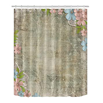 Abaysto Rural Country Rustic Burlap Texture Flower Artistic Vintage American Bucolic Home Decor Shower Curtain Sets With Hooks Polyester Fabric Great Gift Amazon In Home Kitchen