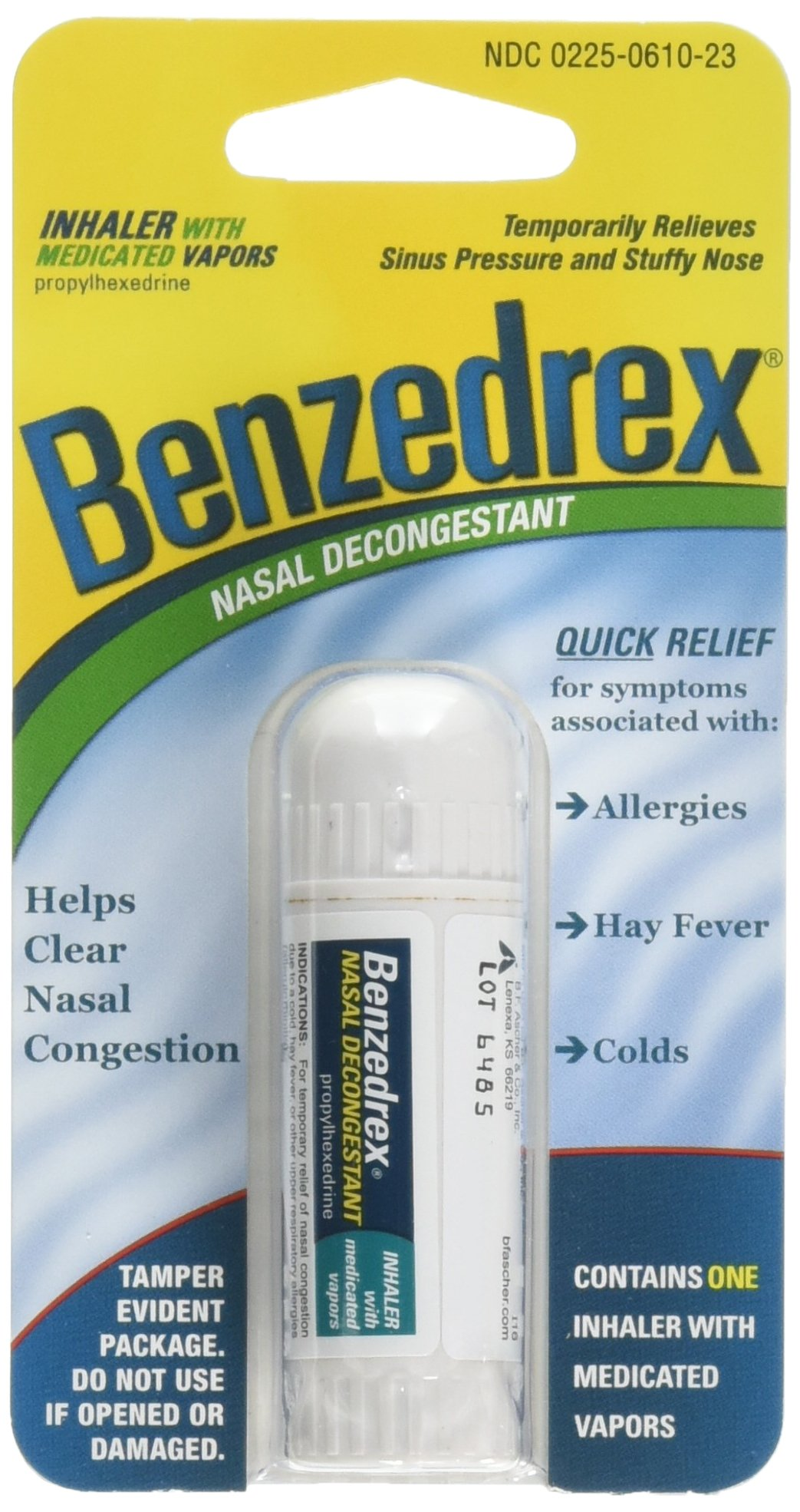 Benzedrex Inhaler Propylhexedrine Nasal Decongestant - 1ea(Pack of 6)