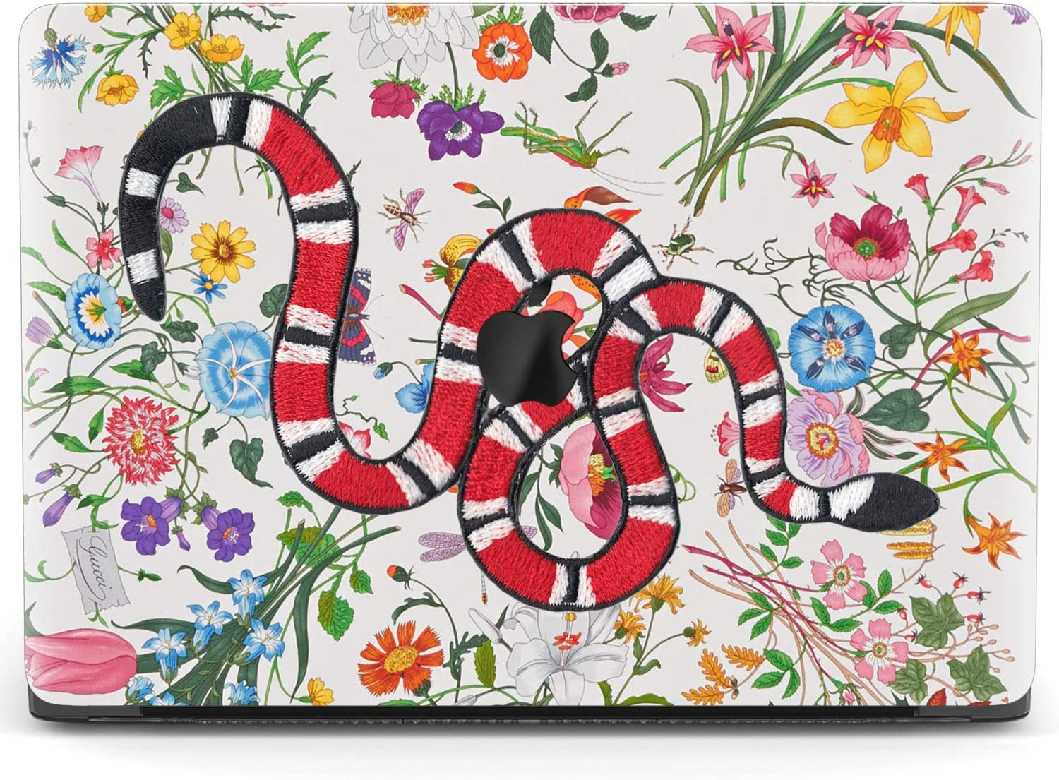 Mertak Hard Case Compatible with MacBook Pro 16 Air 13 inch Mac 15 Retina 12 11 2020 2019 2018 2017 Snake Flowers Embroidered Protective Insect Touch Bar Clear Plastic Print Cover Botanical Serpent
