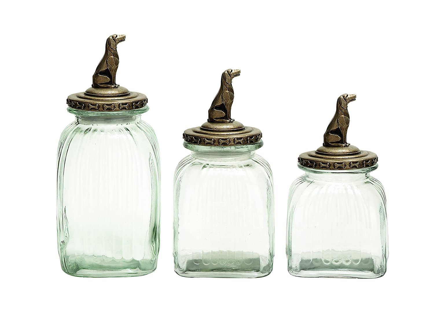 Benzara Glass Canister with Dog Figure on Lid, Elegant Finish, Set of 3 54804