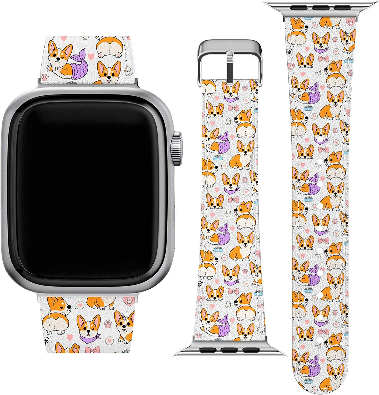 Lex Altern Band Compatible with Apple Watch Series 6 SE 5 4 3 2 1 38mm 40mm 42mm 44mm Dog Corgis Butt Puppy Stylish Mermaid Cute Corgicorn Wristband Thin PU Leather Replacement Strap for iWatch wh581