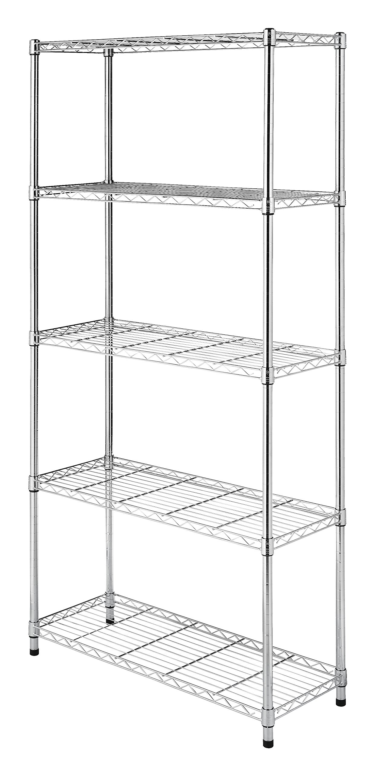 Whitmor Supreme 5 Tier Shelving with Adjustable Shelves and Leveling Feet - Chrome by Whitmor