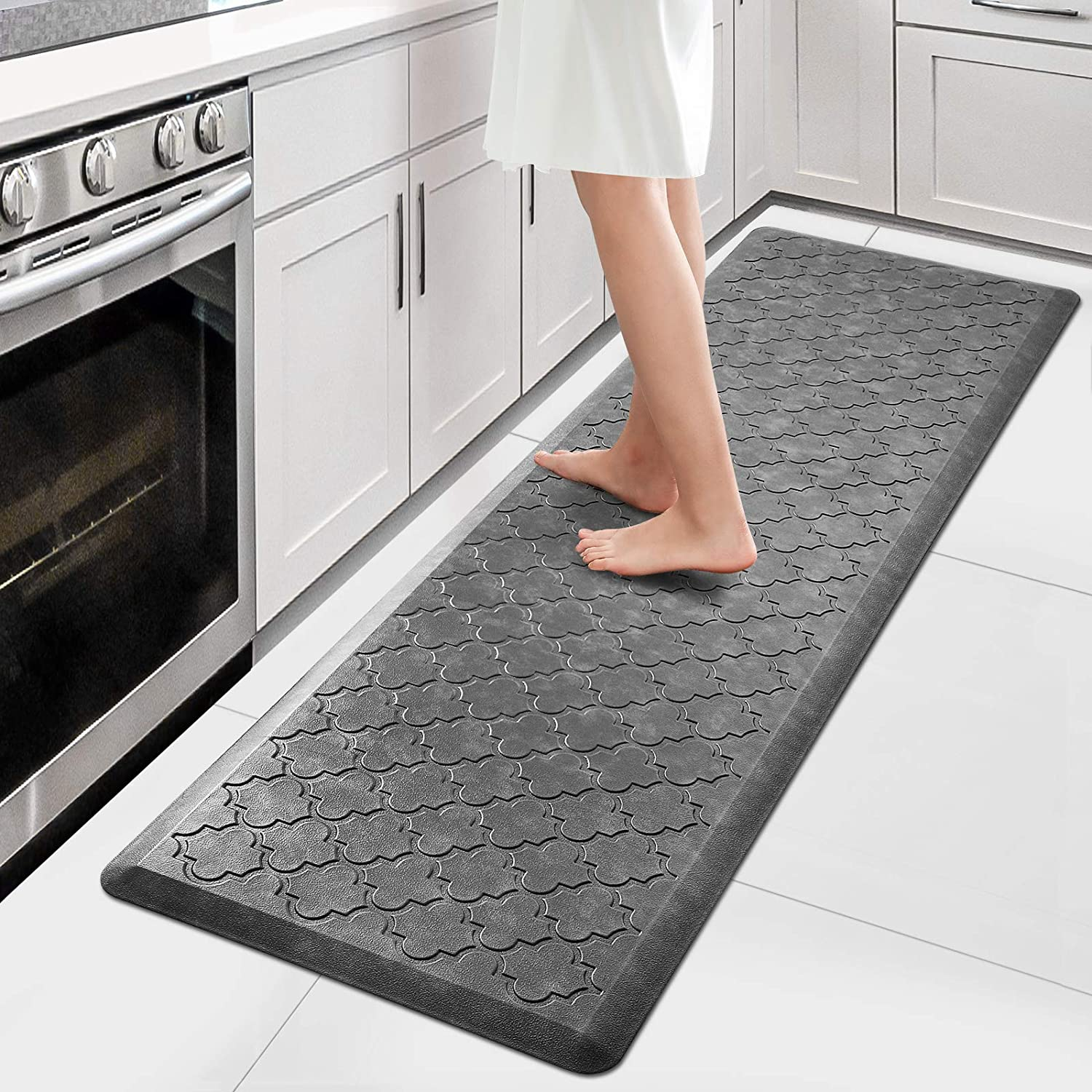 Amazon Com Wiselife Kitchen Mat Cushioned Anti Fatigue Floor Mat 17 3 X59 Thick Non Slip Waterproof Kitchen Rugs And Mats Heavy Duty Foam Standing Mat For Kitchen Floor Home Office Desk Sink Laundry Grey Kitchen Dining