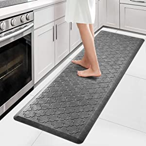"WiseLife Kitchen Mat Cushioned Anti Fatigue Floor Mat,17.3""x60"",Thick Non Slip Waterproof Kitchen Rugs and Mats,Heavy Duty PVC Foam Standing Mat for Kitchen,Floor,Home,Office,Desk,Sink,Laundry,Grey"