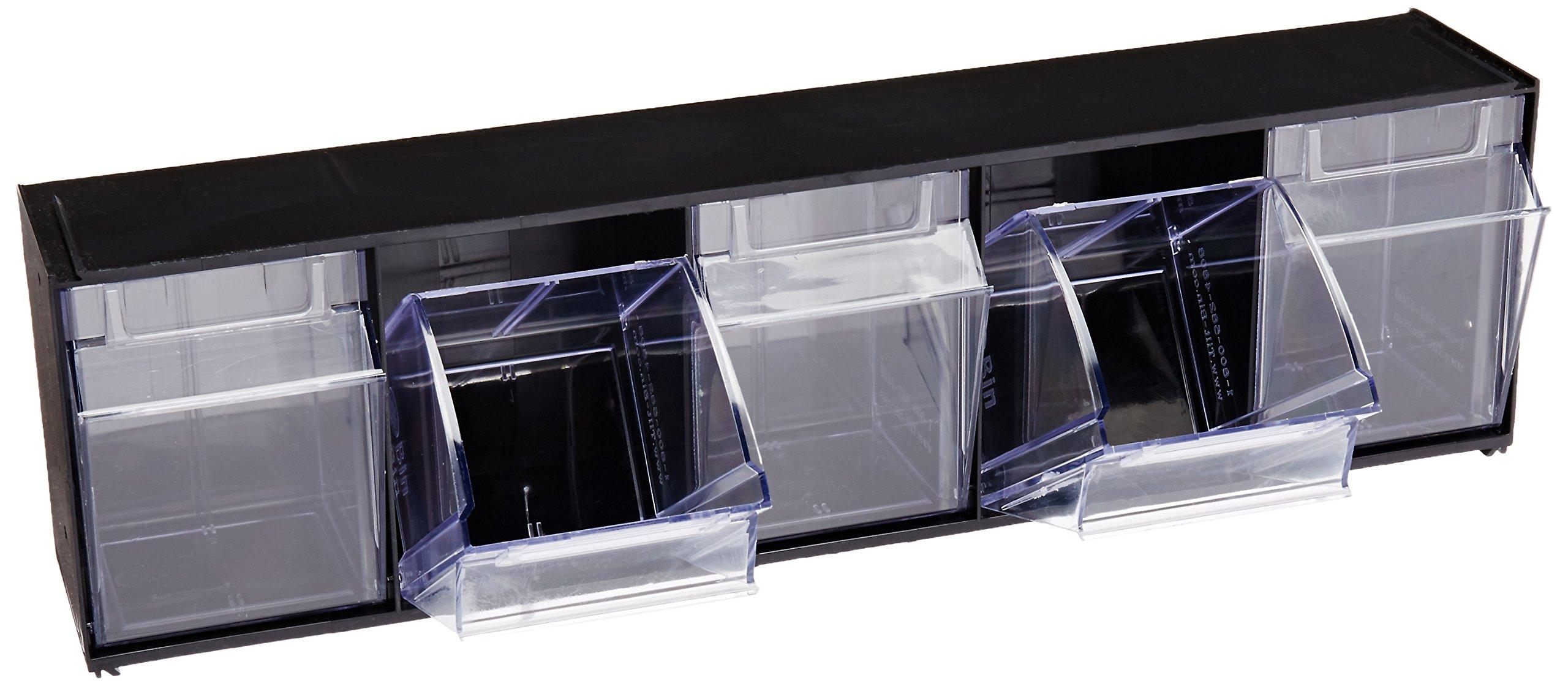 Deflecto 20504OP Five-bin horizontal tilt bin storage system, 23-5/8w x 5-1/4d x 6-1/2h, black