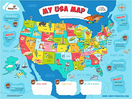 Full Interactive Map Of Usa.Amazon Com Flyingkids Usa Map Poster For Kids Educational