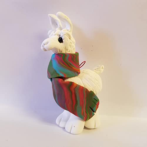 Llama Christmas Ornament Alpaca Wrapped In Bright Colored Holiday Serape White Hand Made Polymer Clay