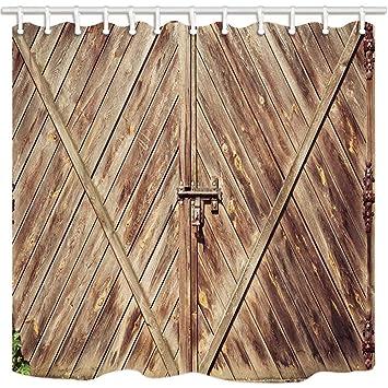CDHBH Western de Bain Rideau Vintage Rustique Porte en Bois avec ...