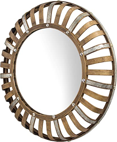 American Art Decor Bamboo and Metal Rustic Convex Wall Mirror Round 24