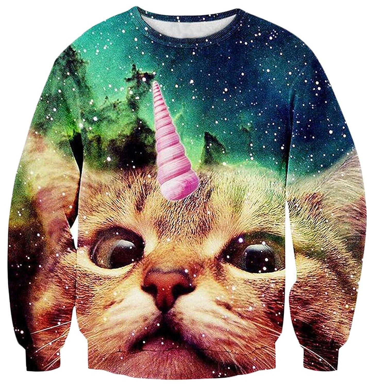 KDHJJOLY New Mens Fashion 3D Cat Print Longsleeve Pullover Sweater