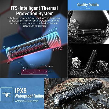Klarus E1 Torcia a LED 1000 Lumen CREE XP-L HI LED Torce Elettriche Portatili Ricaricabile Doppio Interruttore EDC con batteria 18650 e Tidusky USB Lampada e vano Batteria