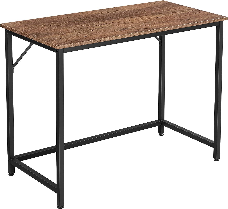 VASAGLE Escritorio, Mesa de Ordenador, Mesa de Oficina pequeña, 100 x 50 x 75 cm, para Estudio, Oficina, Montaje Simple, Acero, Diseño Industrial, Marrón Avellana y Negro LWD041B03