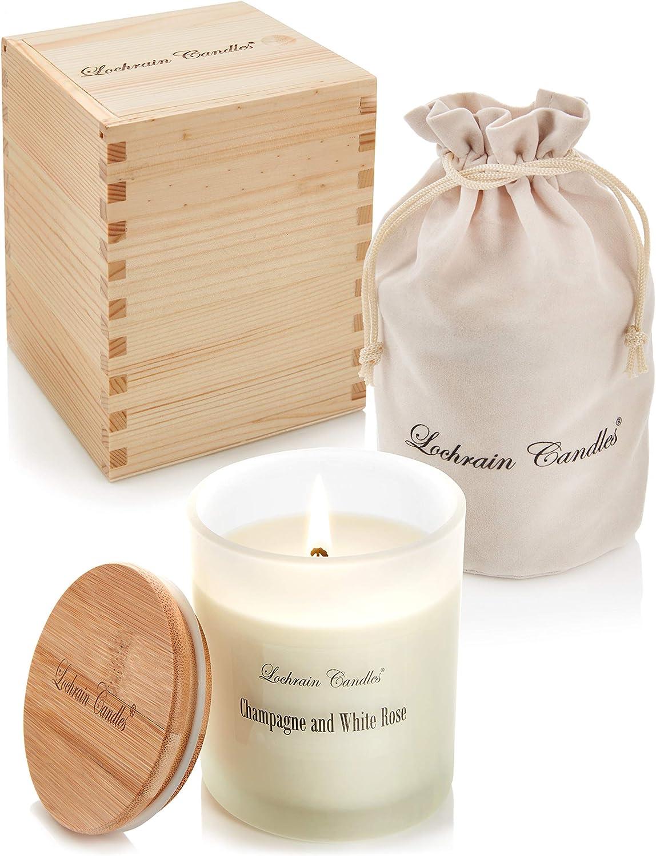 Champagne et Rose blanche aux huiles essentielles et aux plantes aromath/érapie /écologique Grande bougie parfum/ée /à la cire de soja dans un coffret cadeau en bois fait /à la main