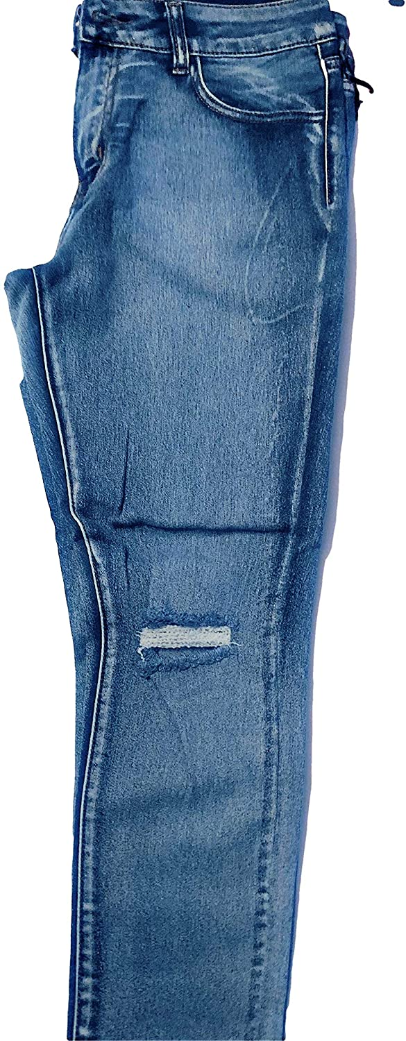 Mid Rise Ripped Whiskered Stretchy Skinny Jeans in Junior