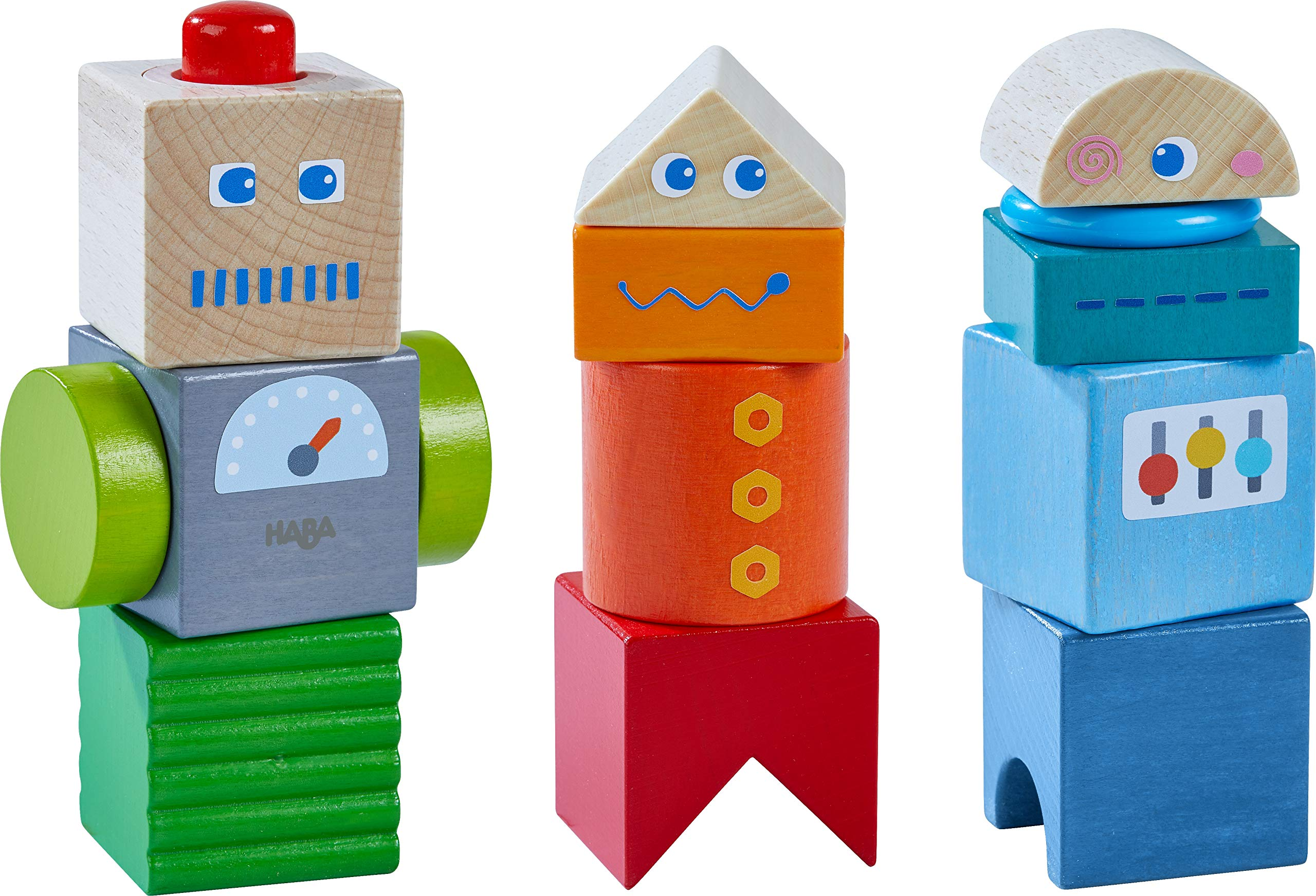 HABA Discovery Blocks Robot Friends - 9 Unique Colored Cubes with Visual & Acoustic Affects (Made in Germany)