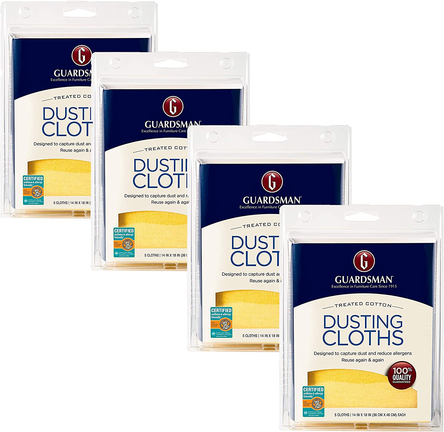 Guardsman Wood Furniture Dusting Cloths - 5 Pre-Treated Cloth - Captures 2X The Dust of a Regular Cloth, Specially Treated, No Sprays or Odors - 462700, Pack of 4