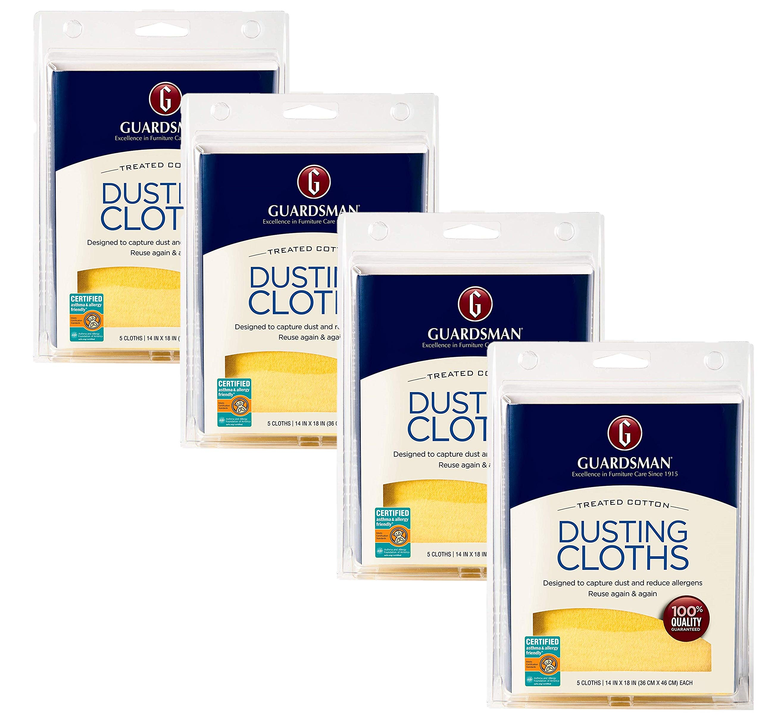 Guardsman Wood Furniture Dusting Cloths - 5 Pre-Treated Cloth - Captures 2X The Dust of a Regular Cloth, Specially Treated, No Sprays or Odors - 462700, Pack of 4 by Guardsman