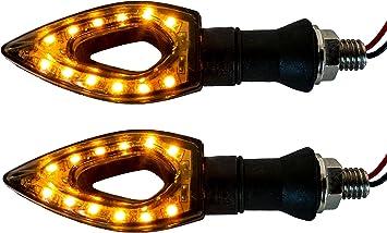 2x Black Universal Motorcycle Turn Signals Clear LED Dual Sport Dirt Bike Lights