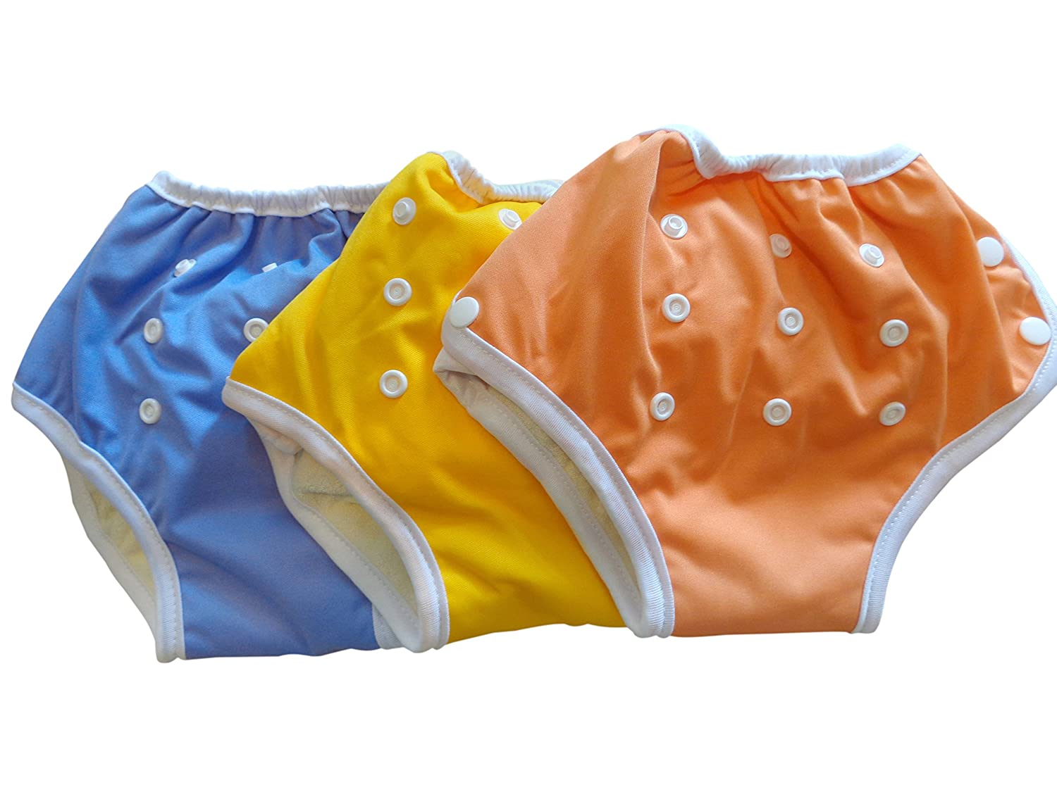 Three Little Imps Culottes d'apprentissage à fermeture 8-35+ livres jaune / violet / orange - Set de 3