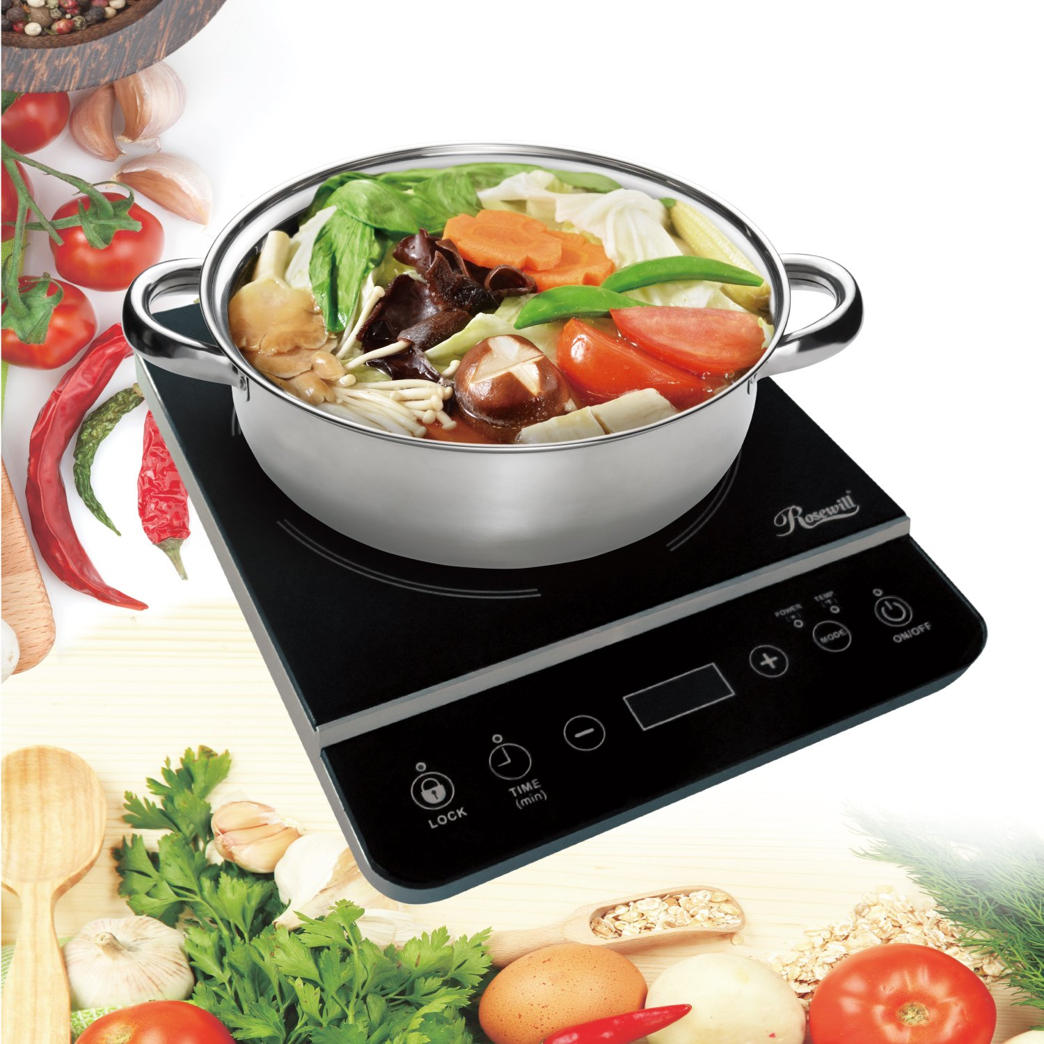 RHAI-13001 Induction Cooktop Rosewill Induction Cooker 1800 Watt Electric Burner with Stainless Steel Pot 10 3.5 QT 18-8