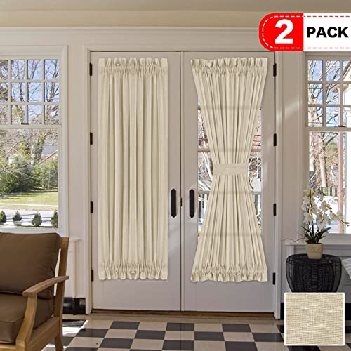 H.VERSAILTEX Natural Linen Blended French Door Curtain Rich Linen Light Filtering Semi Sheer Curtains, Rod Pocket Door Panel, Set of 2, 52 x 72 Inch, Beige