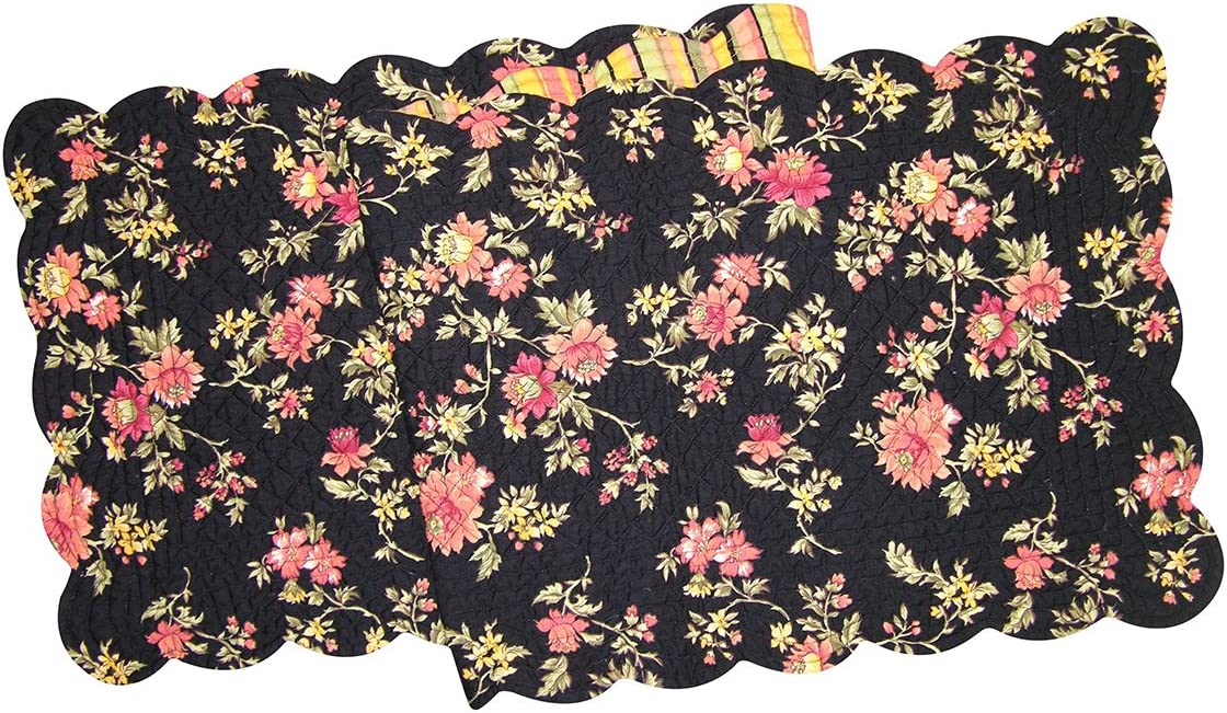 C&F Home Montego Cotton Quilted Reversible Table Runner 14x51 Runner Black