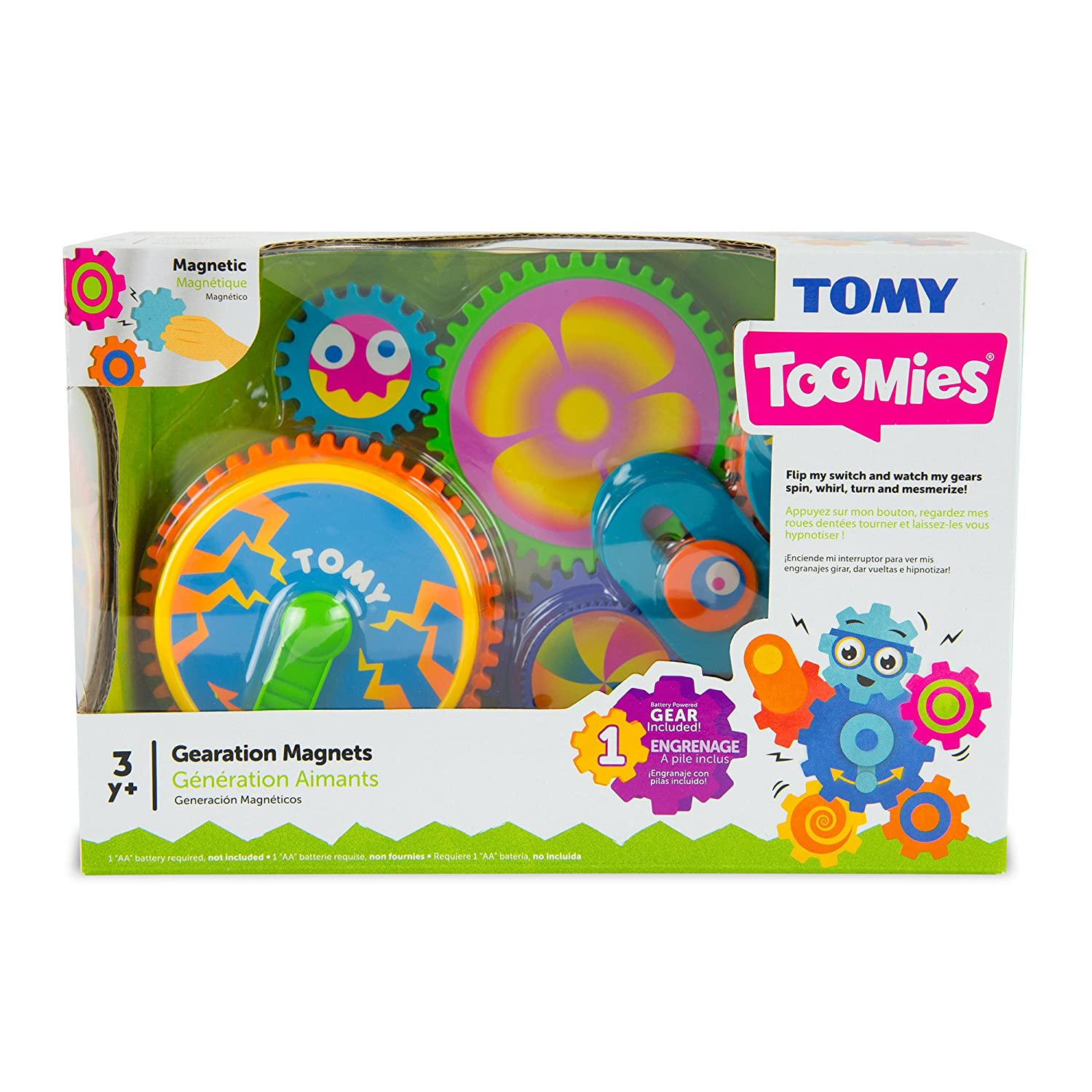 TOMY Gearation Magnets Refrigerator Battery Operated Building Toy Gears 5 NEW