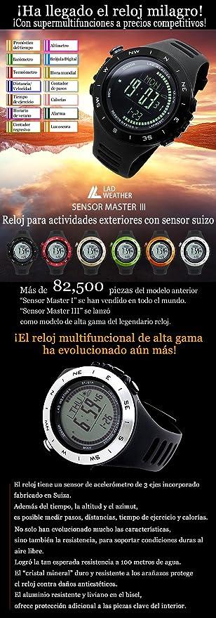 Lad Weather Reloj Altímetro Barómetro Brújula Calorías Pronóstico del Tiempo (Negro/Negro): Amazon.es: Relojes