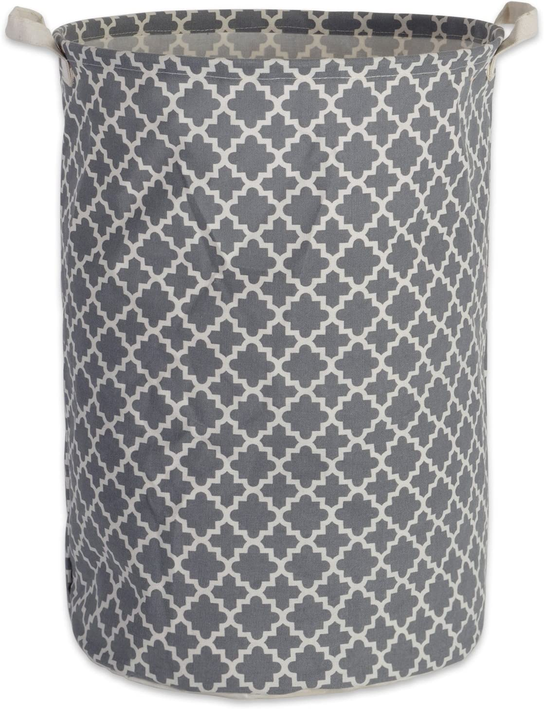 DII Cotton/Polyester PE Coated Assorted Laundry Bins, Hamper, Gray Lattice