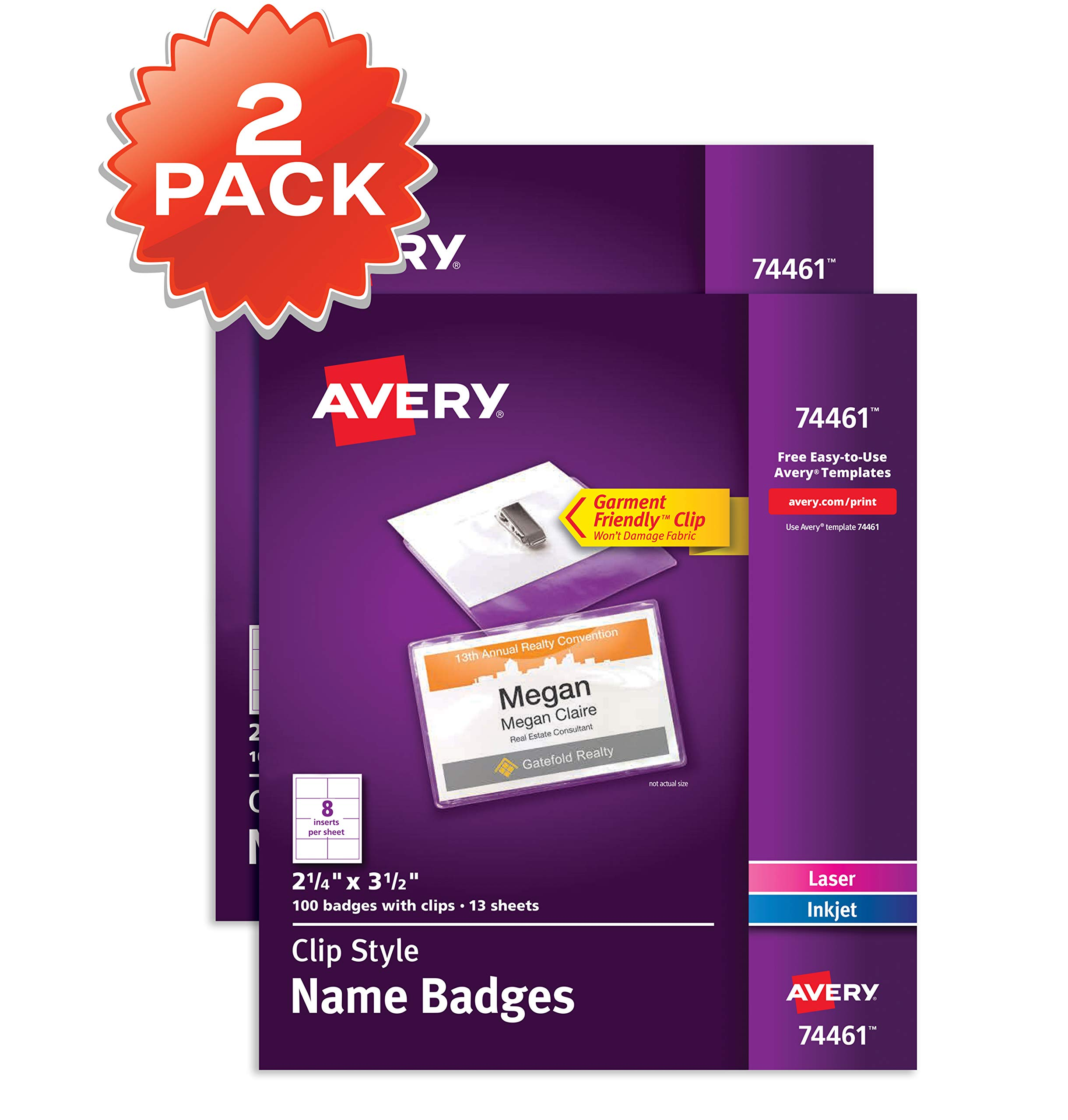 Avery Clip Name Badges, Print or Write, 200 Inserts & Badge Holders with Clips, 2-1/4'' x 3-1/2'', 2 Pack (74461) by AVERY