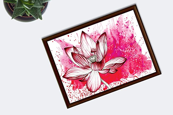 Red Lotus Flower Watercolour Print Nature Lovers Gifts Amazonco