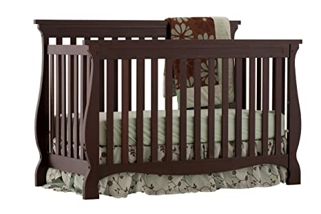 Stork Craft Carrara 4-in-1 Fixed Side Convertible Crib, Espresso ...