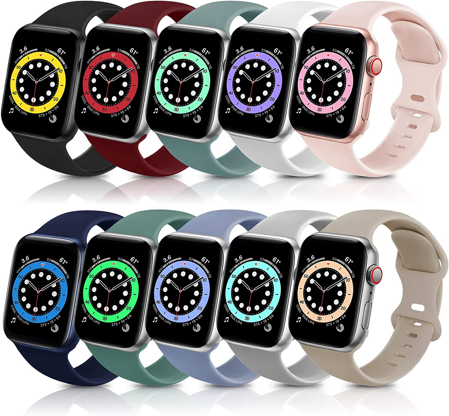 ZALAVER Bands Compatible with Apple Watch Band 38mm 40mm 42mm 44mm, Soft Silicone Sport Replacement Band Compatible with iWatch Series 6 5 4 3 2 1 Women Men Multi Colors 42mm/44mm S/M