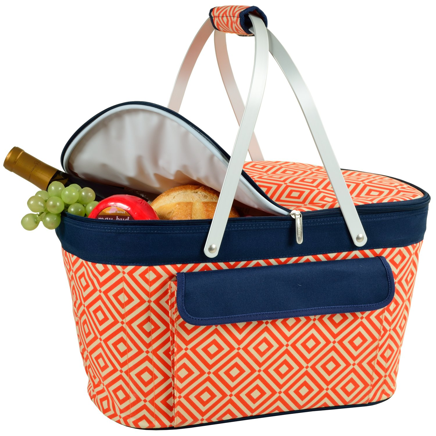 Picnic at Ascot Patented Insulated Folding Picnic Basket Cooler- Designed & Quality Approved in the USA by Picnic at Ascot