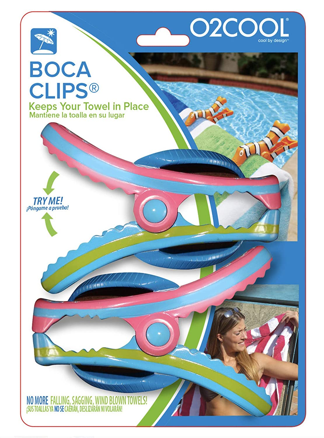 Amazon.com: Boca Clips 2pk Flip Flop Beach Towel Clips Blue & Pink: Home & Kitchen
