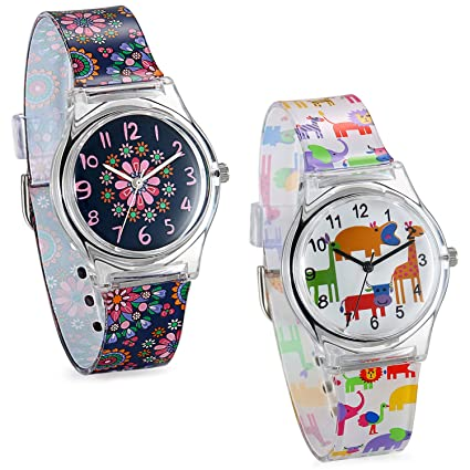 Amazon.com: JewelryWe Kids Time Teacher - Fun Animal Dial Silicone Band Analog Japan Citizen Quartz Cartoon Watches: Watches