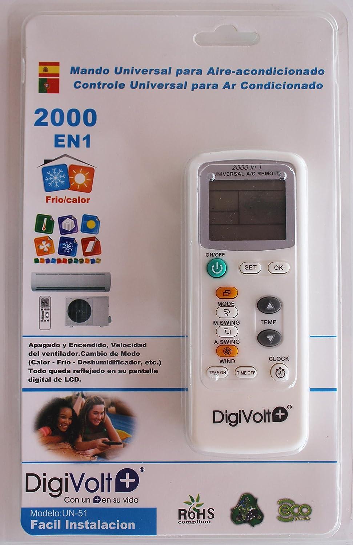 Genius Factory ® Mando a distancia Universal para aire acondicionado 2000 EN 1: Amazon.es: Hogar