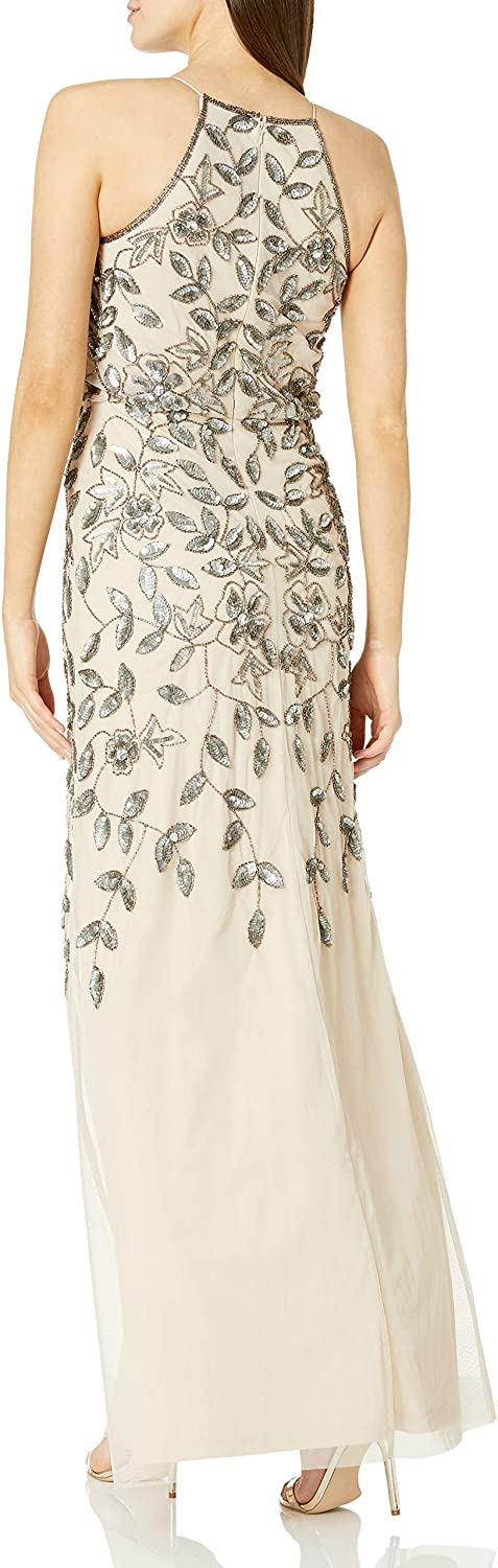 Adrianna Papell Femme sans Manche Robe Taupe/Pink