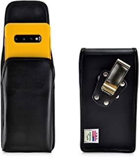 product image for Turtleback Belt Case Designed for Galaxy S10+ Plus Fits with OB Symmetry, Vertical Holster Black Leather Pouch with Heavy Duty Rotating Belt Clip, Made in USA