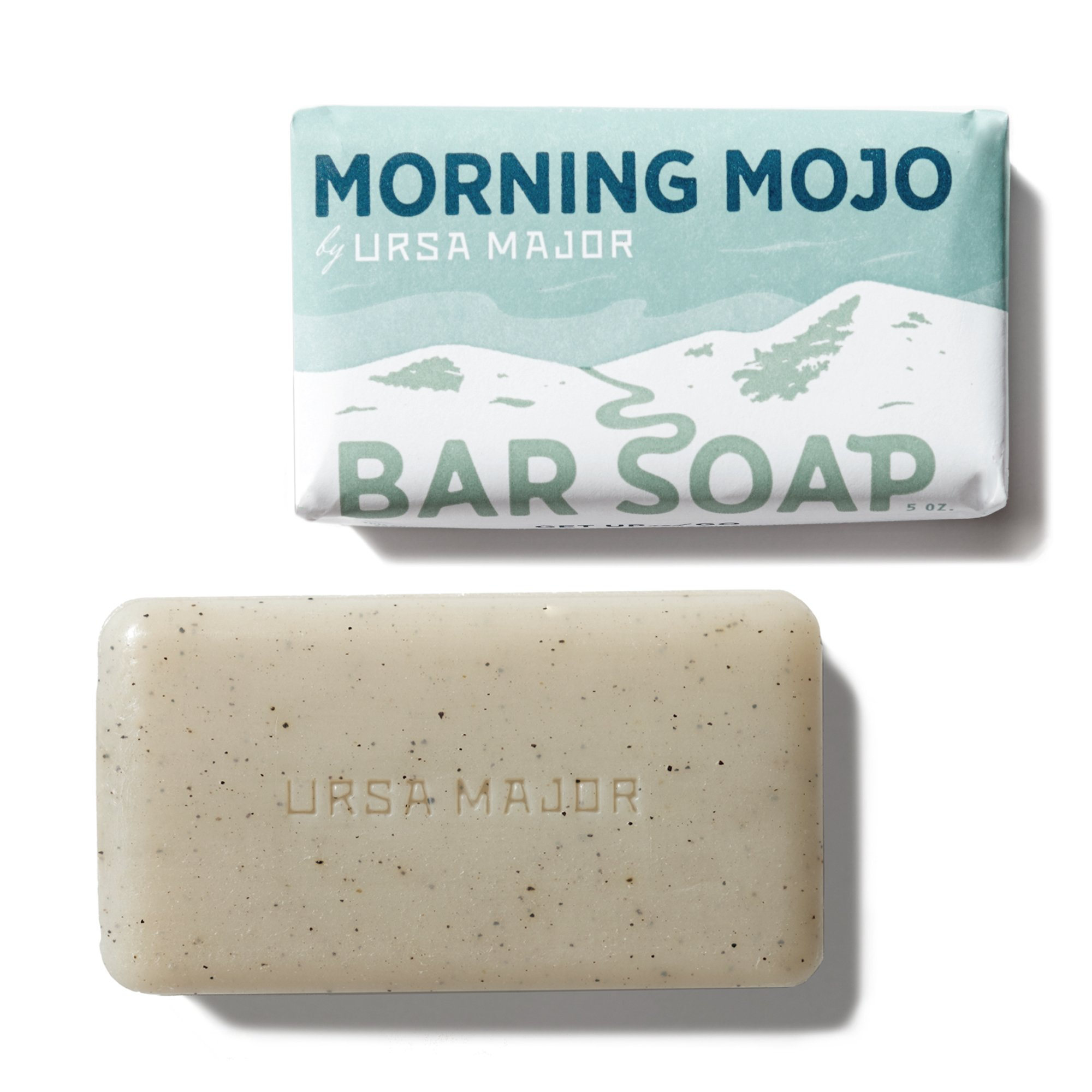 Ursa Major Morning Mojo Bar Soap - Exfoliating Natural Bar Soap with Peppermint, Eucalyptus and Rosemary (5 oz)