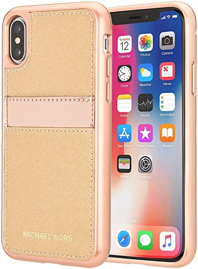 338c9309298f9f Image Unavailable. Image not available for. Color: Michael Kors Saffiano  Leather Pocket for Apple iPhone X - Rose gold