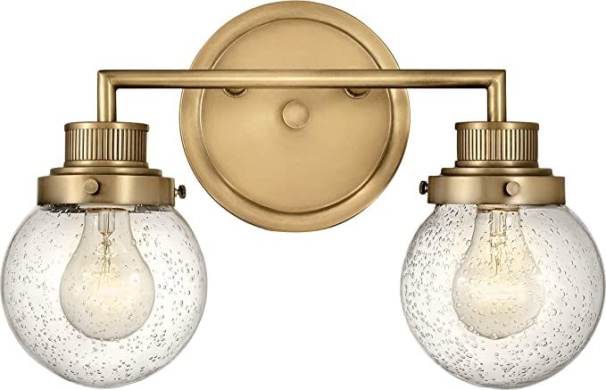 Amazon Com Hinkley Poppy Collection Two Light Bathroom Vanity Fixture With Clear Seedy Glass Heritage Brass Home Improvement
