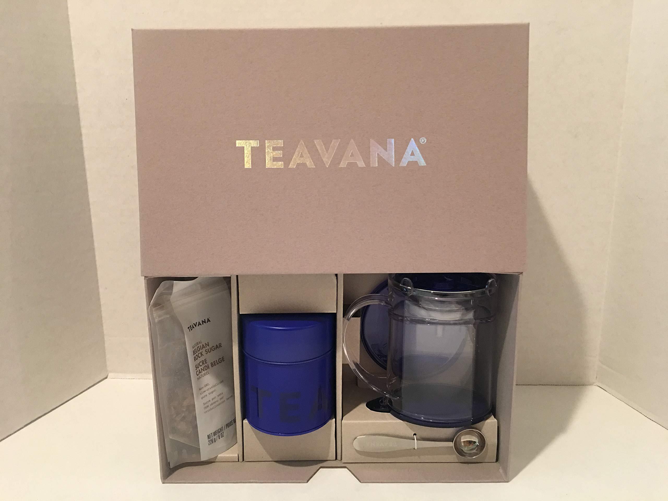 Teavana Start Steeping Starter Brewing Kit (Blue Perfectea Maker, Tea Tin, Scoop and Belgian Rock Sugar)