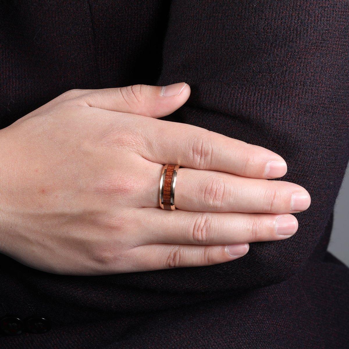 iTungsten 8mm Rose Gold Womens Mens Wedding Bands Tungsten Carbide ...