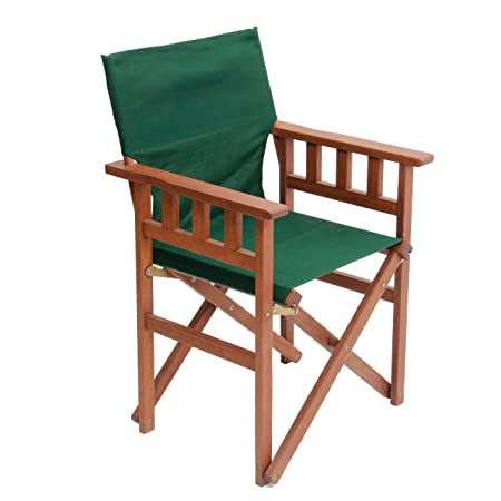 Pangean Campaign Chair, Hardwood Keruing Wood, Hand-Dipped Oil Finish, Perfect for Patio Deck, Matching Furniture, Folding Portable, 20 DL x 23.5 W x 36 H, Up to 250 lbs Green, Single