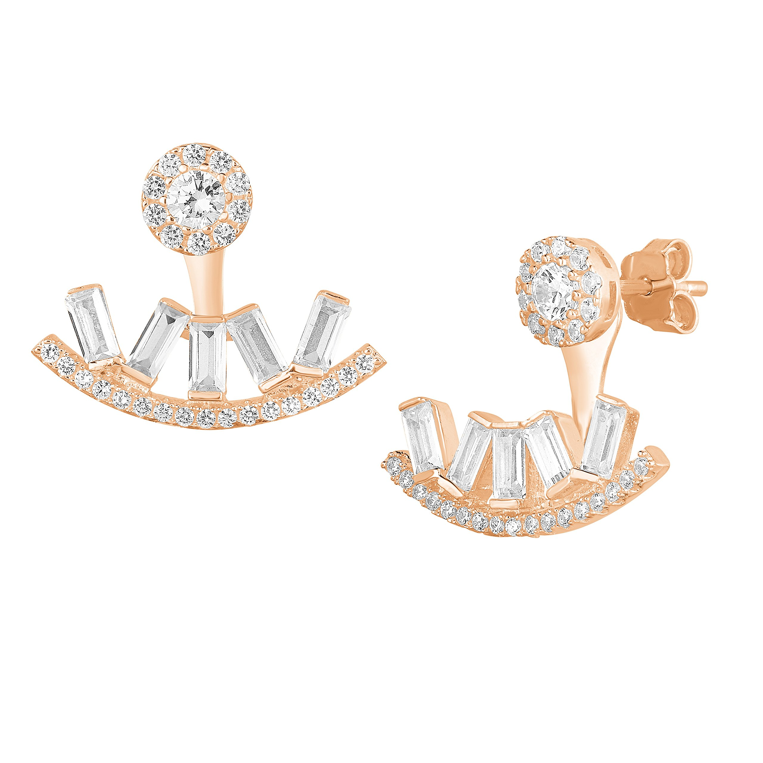 Rose Gold Plated Sterling Silver Cubic Zirconia Halo with Baguette Front Back Stud Earrings