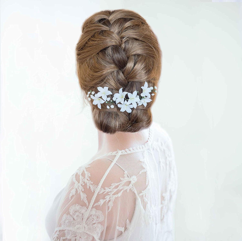 Gypsophila hair pins Babys breath wedding hair piece Bridal hair pins Wedding hair accessories White flowers Botanical wedding Floral hair
