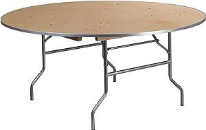 Flash Furniture 66RND Wood Fold Met Edge table, Brown