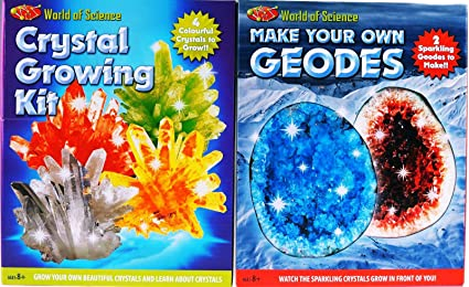 World Of Science Crystal Growing Kit Grow Your Own 4 Colourful Crystals Learn 8+